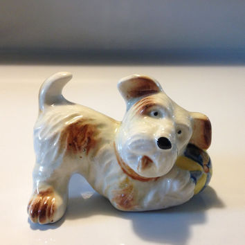 Occupied Japan Terrier Dog Figurine Hand Painted Scottie Porcelain Ceramic Pottery 1940s