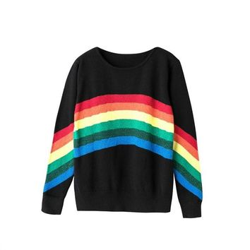 2017 New Autumn Women Rainbow Sweater Color Striped Women'S Knitted Sweater Loose O-Neck Pullover