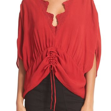 IRO Lace Trim Ruched Top | Nordstrom