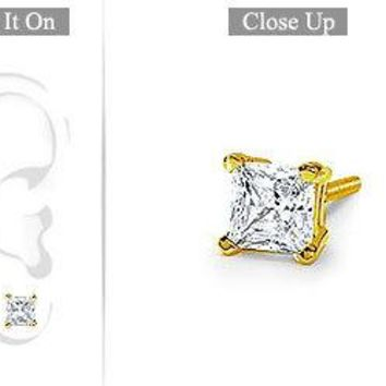Mens 14K Yellow Gold : Princess Cut Diamond Stud Earring - 1.00 CT. TW.