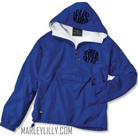 Monogrammed Royal Blue Pullover Rain Jacket