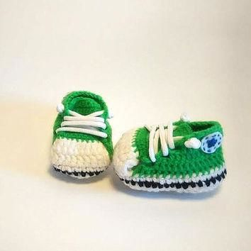 Crochet babyshoes / Converse green baby shoes / Handmade / Ready to Ship