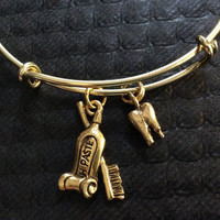 Gold Tooth and Toothbrush and Toothpaste Charm on an Expandable Adjustable Bangle Bracelet Dentist or DH Dental Hygenist Gift