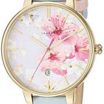 Leather Dress Watch Ted Baker Women's 'KATE' Quartz Stainless Steel and Blue