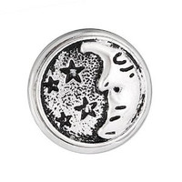 Chunk Snap  Charm Rhodium Plated Antique Silver Chunk Moon Stars 18 mm