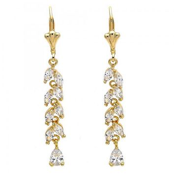 Gold Layered Long Earring, Leaf and Teardrop Design, with Cubic Zirconia, Gold Tone