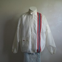 Vintage 1970s Sports Jacket Mens Nylon White Racing Stripes 70s Light Coat Medium