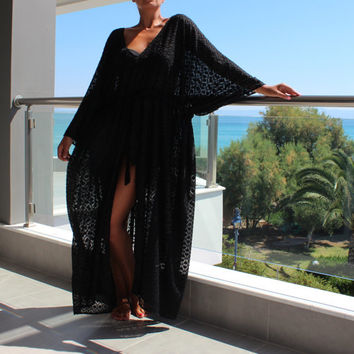 Cover up dress, Maxi Dress , Caftan Dress, Black Dress, Chiffon dress, Plus Size Dress, Chiffon Dress, Beach Dress, Beach Tunic,Summer Dress