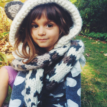 Leopard Cheetah Hat Hood Cowl Scarf Knit Toddler Child Adult // Langley the Leopard Hood