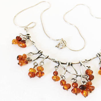 Sterling Silver Amber Necklace, Modernist Gemstone Jewelry, Artisan Crafted Boho Style Bib