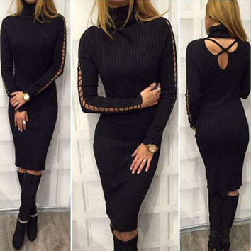 Sweater Winter Long Sleeve Bandages Sexy Women's Fashion Hot Sale One Piece Dress [9503363268]