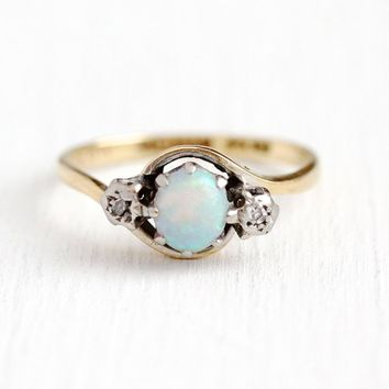 Vintage Opal Ring - 18k Yellow Gold & Platinum Genuine Diamond Three Stone - Art Deco Size 6 3/4 October Birthstone Fine 1930s Jewelry
