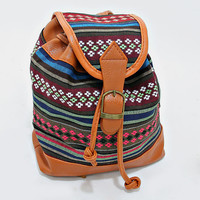 Boho Aztec Baby Backpack, Tribal Chic Buckle Leather Trim Bag - Mint