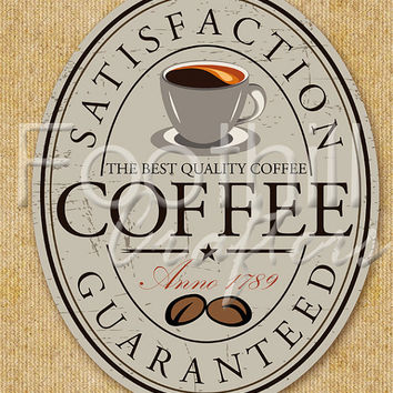 INSTANT DOWNLOAD - Vintage Coffee Oval Sign Digital Graphic - 8.5x11 - Fabric or Paper Projects - Coffee Beans - Tin Sign - Kitchen Decor