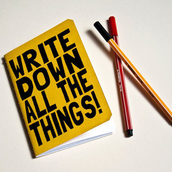 """Handmade notebook Yellow """"All the things"""""""