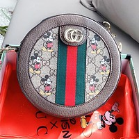 GUCCI x Disney Women Leather Mickey Mouse Print Circular Shoulder Bag Crossbody Satchel
