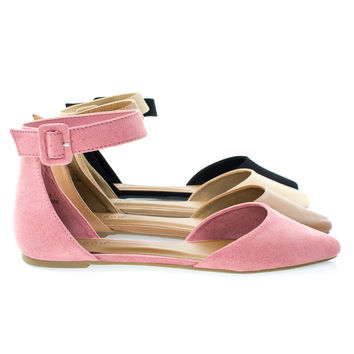 Sequel87M By Bamboo, Women's Pointed Toe Flat w Double Open Shank d'Orsay Cut & Ankle Strap