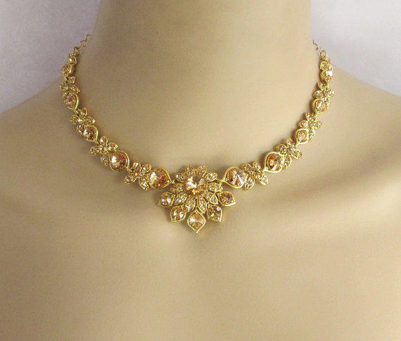 Antique Gold Bridal Wedding Necklace From Beauteshoppe On Etsy