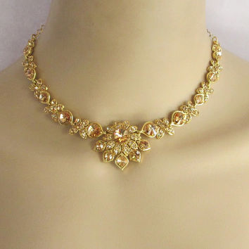 Antique Gold Bridal Wedding Necklace Rhinestones Jewelry Set With Earrings/Indian Bridal Necklace/Bollywood Necklace/ Party Jewelry