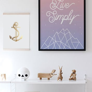 Live Simply, Minimalist Print, Inspirational Quote, Pantone 2016, Wall Art, Typography, Modern Home Decor, Art Print, Nursery, Quote Art.