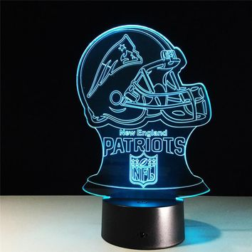 7 Color Changing Acrylic Baseball cap New England Patriots 3D Night Lamp touch sensor Night Lamp led table desk Home Decoration