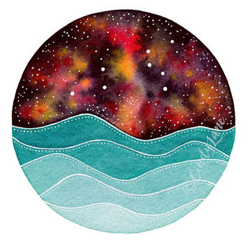 The Leo Constellation above the ocean waves watercolor print, Leo Art, Galaxy Painting, Leo watercolor painting, Stars Print, Zodiac Print