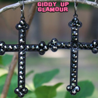 Pink Panache Large Matte Black Cross Earrings with Black Crystals