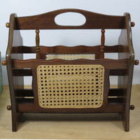 Wood and Rattan Cane Magazine Rack . Cane Inserts . Tropical Decor . Colonial Decor . Vintage Newspaper Holder