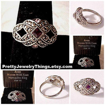 Purple Pink Marcasite Ring Silver Tone Vintage Open Avon Woven Size 10 Raised Nail Heads Triangle Round Stones