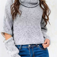 GrayZipper Detail Cropped Sweater