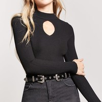 Ribbed Knit Cutout Sweater