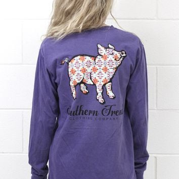 Moroccan Proud Pig Long Sleeve Tee {Grape}
