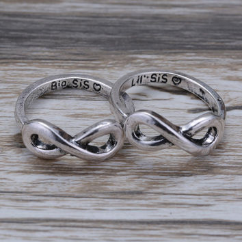 2pcs Cute couple ring bridesmaid gift unique ringS gift sister ring  ring for women couple lover little big sister
