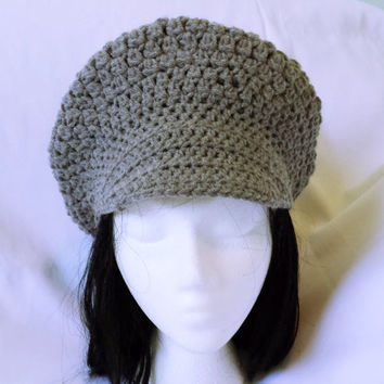 Crochet newsboy hat, slouchy brimmed beanie, grey newsgirl hat, bad hair day, boho women adult cap, teen visor brim hat, boho closhe beanie