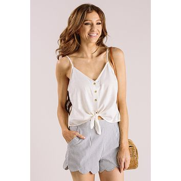 Mandi Grey Striped Scallop Shorts