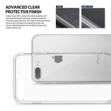 ONETOW Apple iPhone 8 Plus Case Ringke [FUSION] Crystal Clear Minimalist Transparent PC Back TPU Bumper [Drop Protection] Scratch Resistant Natural Shape Protective Cover for iPhone 8 Plus - Clear