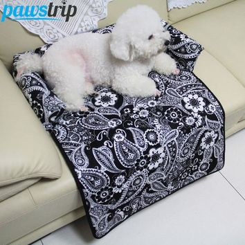 Flower Print Pet Sofa Beds Car Seat Cover S-XL