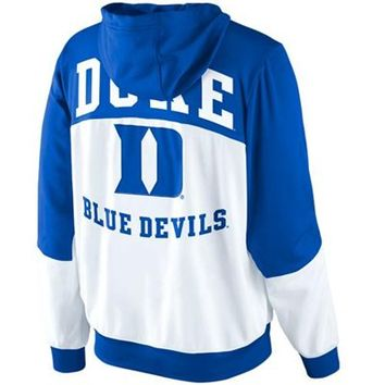 Nike Duke Blue Devils Hyper Elite Tournament Warm Up Performance Full Zip Hoodie - White/Duke Blue