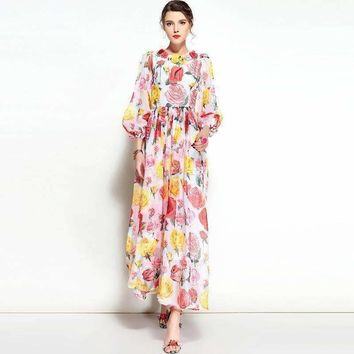 Maxi Dress  Womens Flower Latern Sleeve Floor Length Beach Party Print Long Pleated Dress