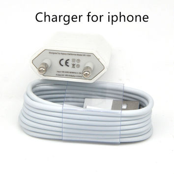 8 pin USB Charger cable for iphone + IC USB AC DC Power Adapter Home Wall Charger for iphone 5 6 plus 7 For IOS 10 9 10.1