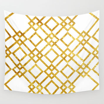 Golden Screen Wall Tapestry by Miss L In Art