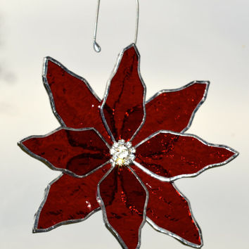Holiday Ornament, Holiday Decor, Holidays, Christmas Tree Ornament Red Poinsettia Decoration,  Red Flower, Stained Glass, Rhinestone Centre