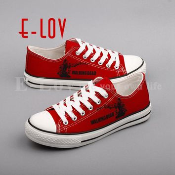 2017 New The Walking Dead Characters 3D Printed Women Graffiti Canvas Shoes Funny Zombies Casual Woman Flat Shoes