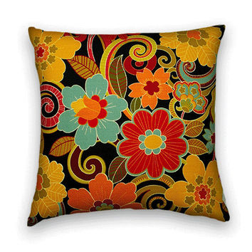 Decorative  Pillow Cover-- Contemporary Floral Throw Pillow --20 x 20 Accent Pillow --Orange, Red, Blue, Green, Yellow, Black