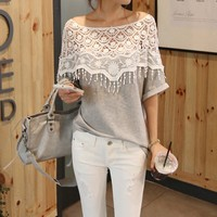 Lace Hollow Bat Sleeve T-Shirt (Photo color)