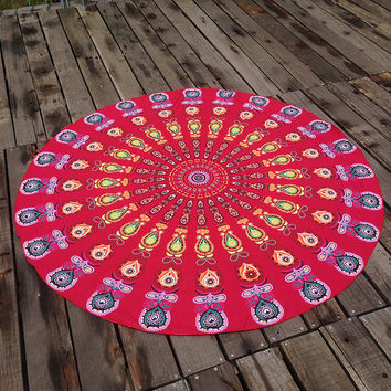 Red Comfortable Ethnic Summer Beach Towel Printed Bohemian Cover Ups Scarves Wrap Pareo