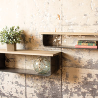 Set of 2 Metal & Wood Wall Shelves