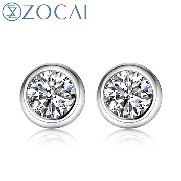 ZOCAI New Arrival Pave Setting 0.20 CT Certified Real Diamond Ea c7ff1d6e1