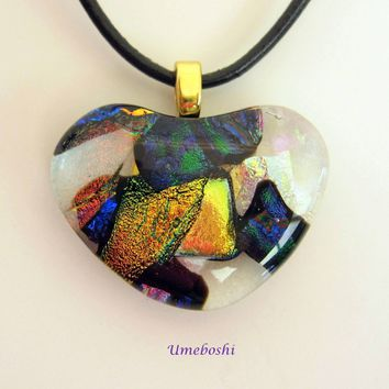 A Piece of My Heart Dichroic Fused Glass Handmade Heart Pendant