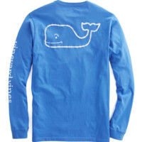 Vineyard Vines Long Sleeve Vintage Whale Graphic Pocket Tee- Marine